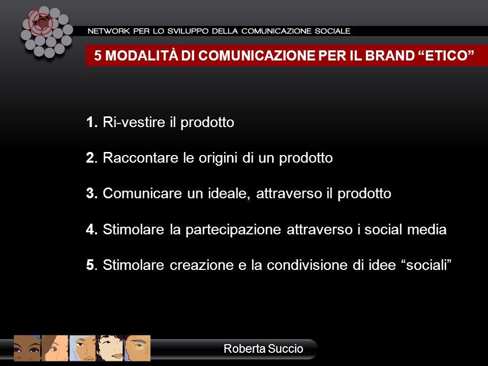 1. Ri-vestire il prodotto 2. Raccontare le origini di un prodotto 3. Comunicare un ideale, attraverso il prodotto 4. Stimolare la partecipazione attra