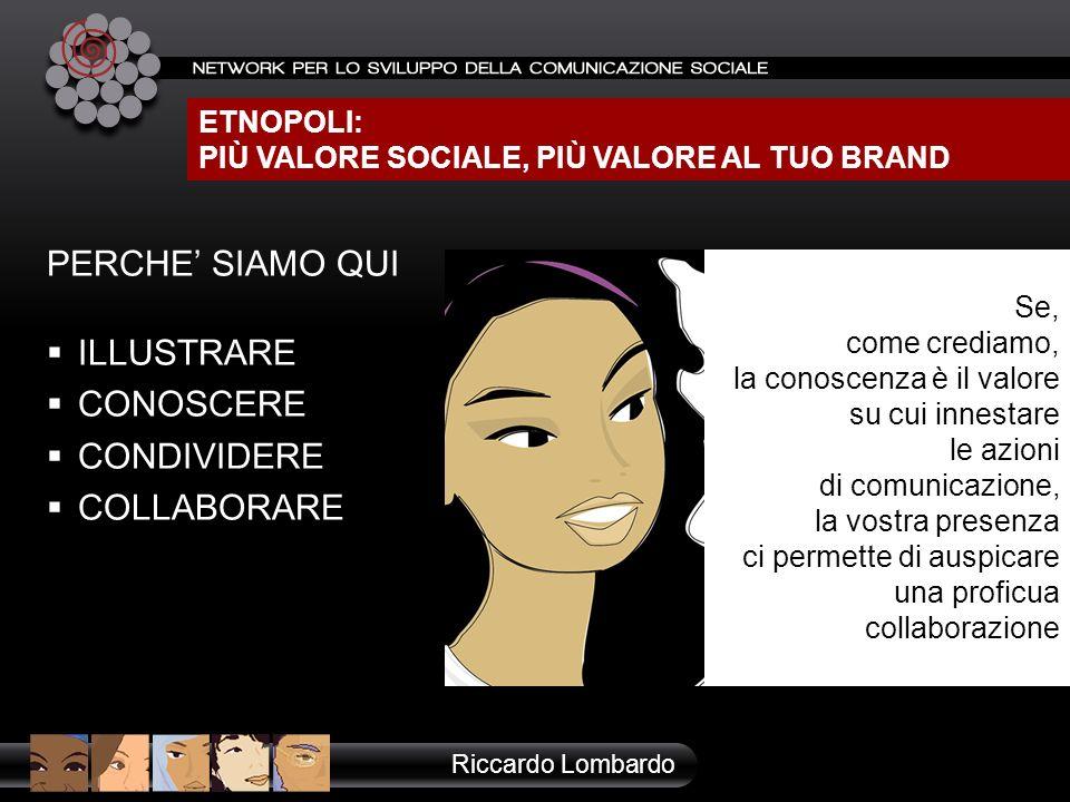ETNOPOLI: PIÙ VALORE SOCIALE, PIÙ VALORE AL TUO BRAND Riccardo Lombardo Se, come crediamo, la conoscenza è il valore su cui innestare le azioni di com