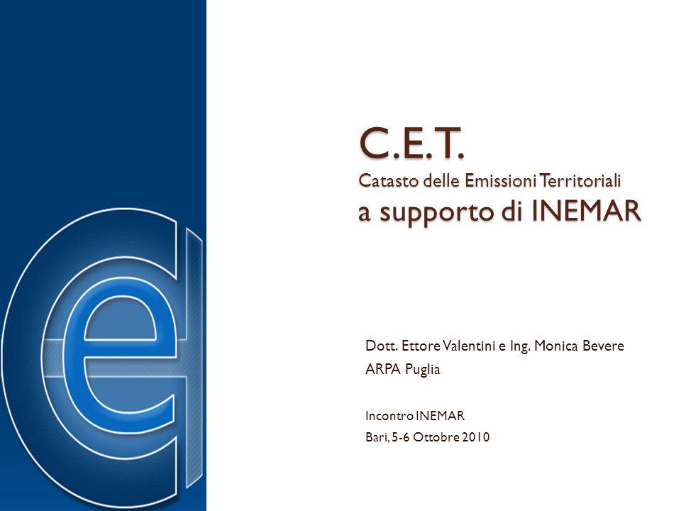 C.E.T. Catasto delle Emissioni Territoriali a supporto di INEMAR Dott. Ettore Valentini e Ing. Monica Bevere ARPA Puglia Incontro INEMAR Bari, 5-6 Ott