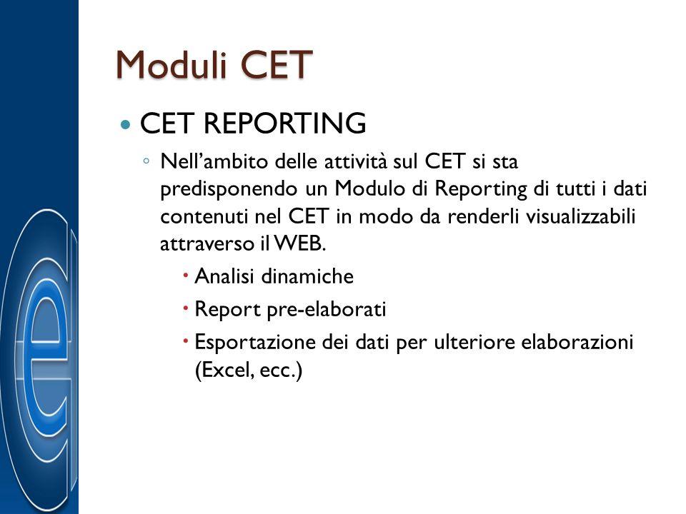 Moduli CET CET REPORTING Nellambito delle attività sul CET si sta predisponendo un Modulo di Reporting di tutti i dati contenuti nel CET in modo da re
