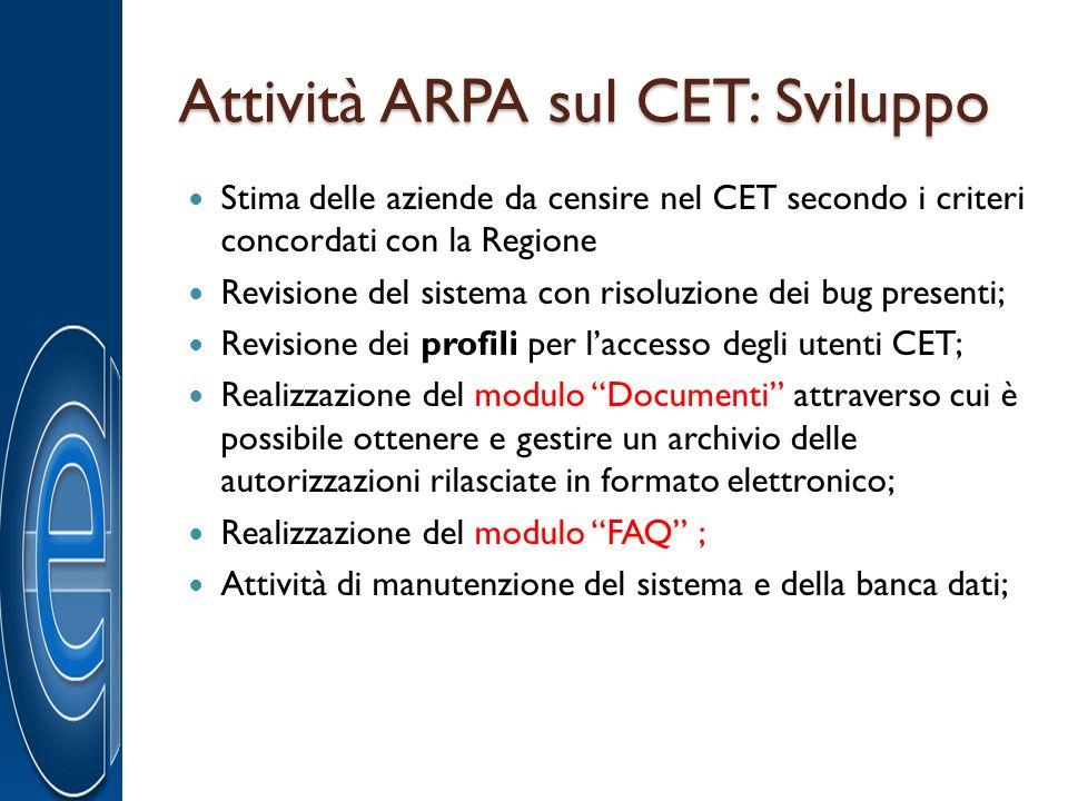 Attività ARPA sul CET: Sviluppo Stima delle aziende da censire nel CET secondo i criteri concordati con la Regione Revisione del sistema con risoluzio