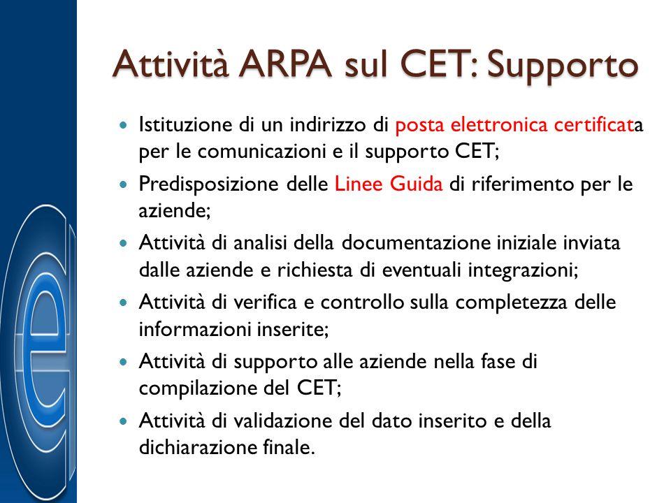 Attività ARPA sul CET: Supporto Istituzione di un indirizzo di posta elettronica certificata per le comunicazioni e il supporto CET; Predisposizione d