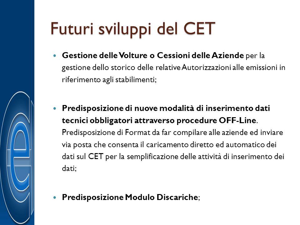 Futuri sviluppi del CET Gestione delle Volture o Cessioni delle Aziende per la gestione dello storico delle relative Autorizzazioni alle emissioni in