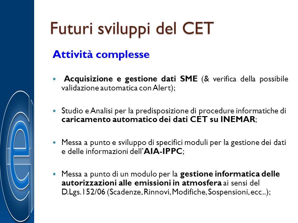 Futuri sviluppi del CET Attività complesse Acquisizione e gestione dati SME (& verifica della possibile validazione automatica con Alert); Studio e An