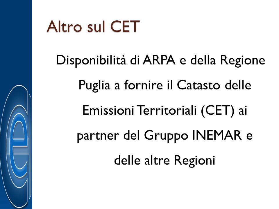 Altro sul CET Disponibilità di ARPA e della Regione Puglia a fornire il Catasto delle Emissioni Territoriali (CET) ai partner del Gruppo INEMAR e dell