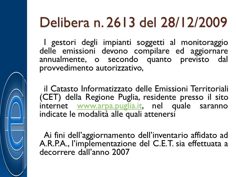 Delibera n. 2613 del 28/12/2009 I gestori degli impianti soggetti al monitoraggio delle emissioni devono compilare ed aggiornare annualmente, o second