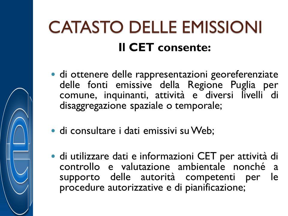 CATASTO DELLE EMISSIONI Il CET consente: di ottenere delle rappresentazioni georeferenziate delle fonti emissive della Regione Puglia per comune, inqu