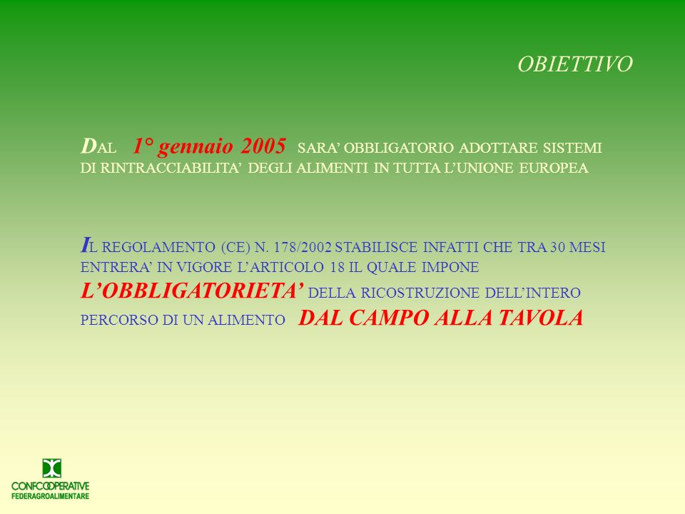 LA SITUAZIONE AGRICOLE 0,3% del totale delle certificazioni ALIMENTARI SIGNIFICATO Solo una porzione ristretta dellagroalimentare italiano può dimostr