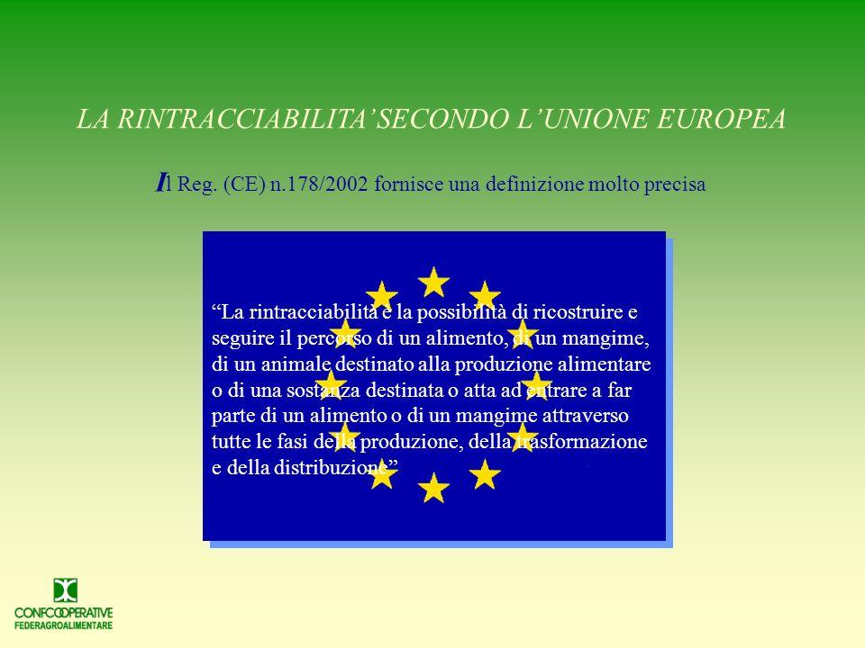 LA RINTRACCIABILITA SECONDO LUNIONE EUROPEA I l Reg.