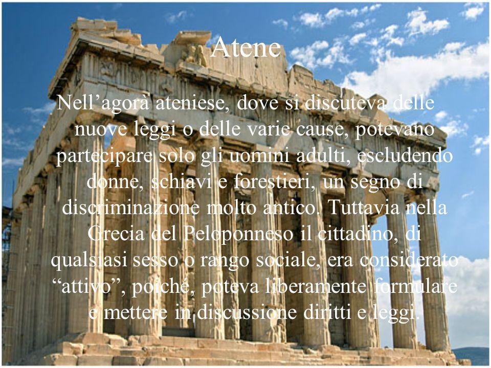 Atene Nellagorà ateniese, dove si discuteva delle nuove leggi o delle varie cause, potevano partecipare solo gli uomini adulti, escludendo donne, schiavi e forestieri, un segno di discriminazione molto antico.