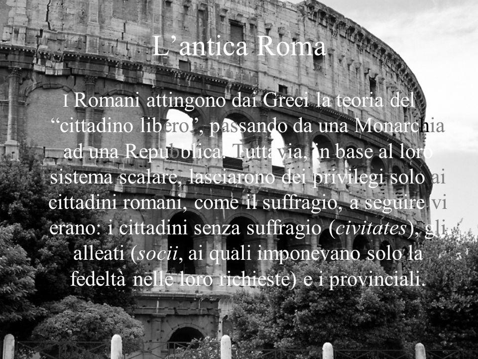 Lantica Roma I Romani attingono dai Greci la teoria del cittadino libero, passando da una Monarchia ad una Repubblica.
