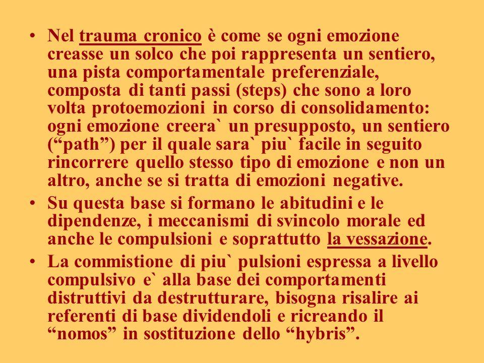 Nel trauma cronico è come se ogni emozione creasse un solco che poi rappresenta un sentiero, una pista comportamentale preferenziale, composta di tant