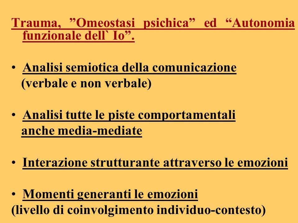 Trauma, Omeostasi psichica ed Autonomia funzionale dell` Io. Analisi semiotica della comunicazione (verbale e non verbale) Analisi tutte le piste comp