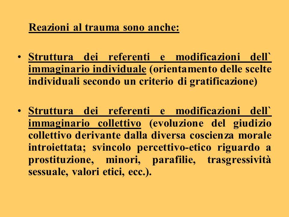 Reazioni al trauma sono anche: Struttura dei referenti e modificazioni dell` immaginario individuale (orientamento delle scelte individuali secondo un
