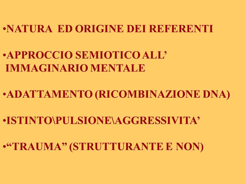 NATURA ED ORIGINE DEI REFERENTI APPROCCIO SEMIOTICO ALL IMMAGINARIO MENTALE ADATTAMENTO (RICOMBINAZIONE DNA) ISTINTO\PULSIONE\AGGRESSIVITA TRAUMA (STR