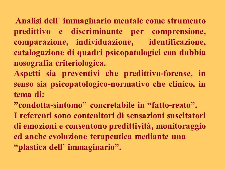 Analisi dell` immaginario mentale come strumento predittivo e discriminante per comprensione, comparazione, individuazione, identificazione, catalogaz