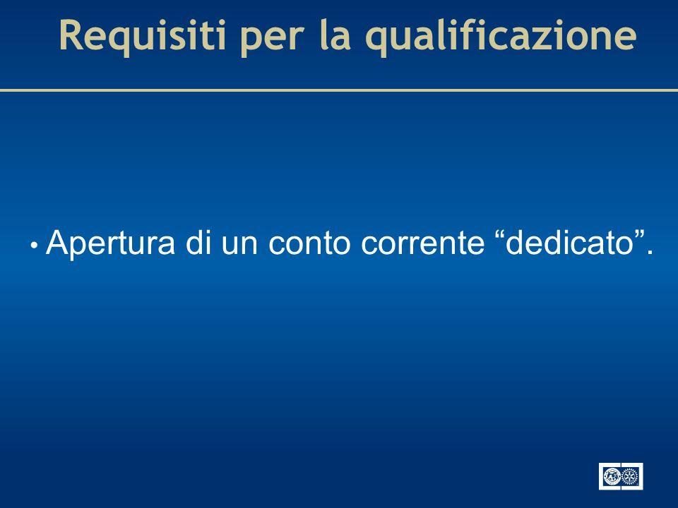 Requisiti per la qualificazione Apertura di un conto corrente dedicato.