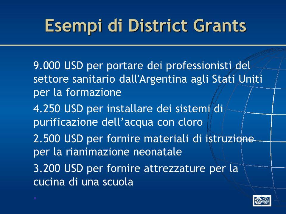 Esempi di District Grants 9.000 USD per portare dei professionisti del settore sanitario dall'Argentina agli Stati Uniti per la formazione 4.250 USD p