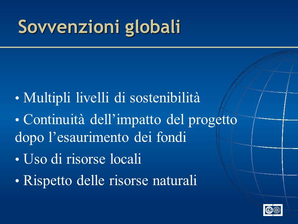 Sovvenzioni globali Multipli livelli di sostenibilità Continuità dellimpatto del progetto dopo lesaurimento dei fondi Uso di risorse locali Rispetto d