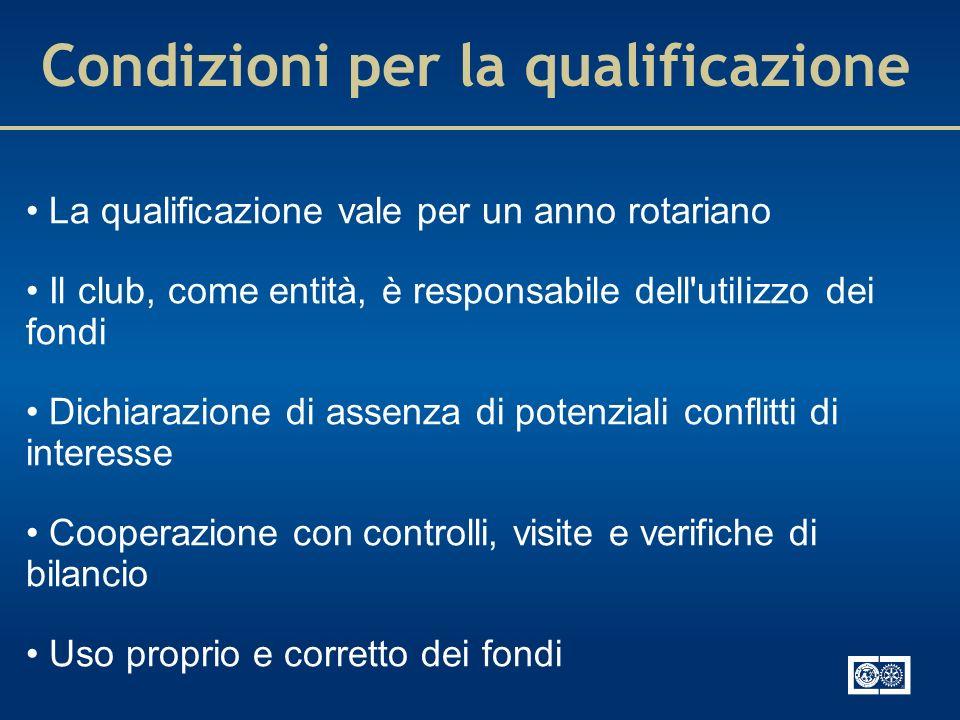 Condizioni per la qualificazione La qualificazione vale per un anno rotariano Il club, come entità, è responsabile dell'utilizzo dei fondi Dichiarazio