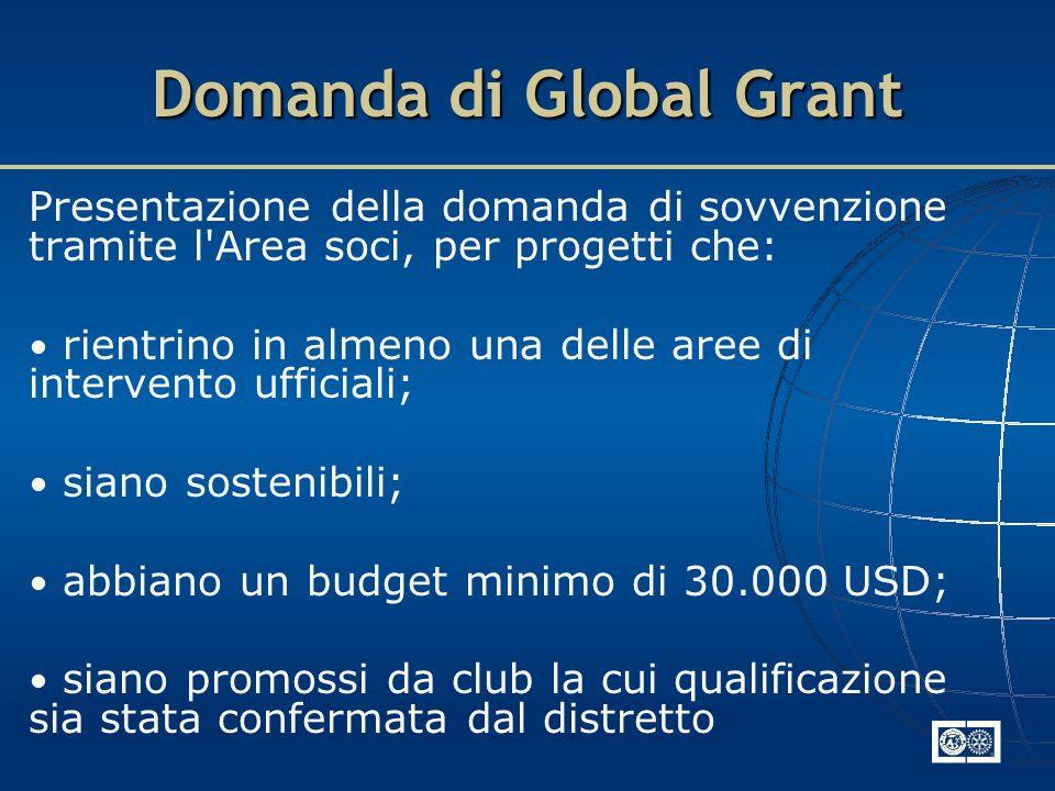 Domanda di Global Grant Presentazione della domanda di sovvenzione tramite l'Area soci, per progetti che: rientrino in almeno una delle aree di interv