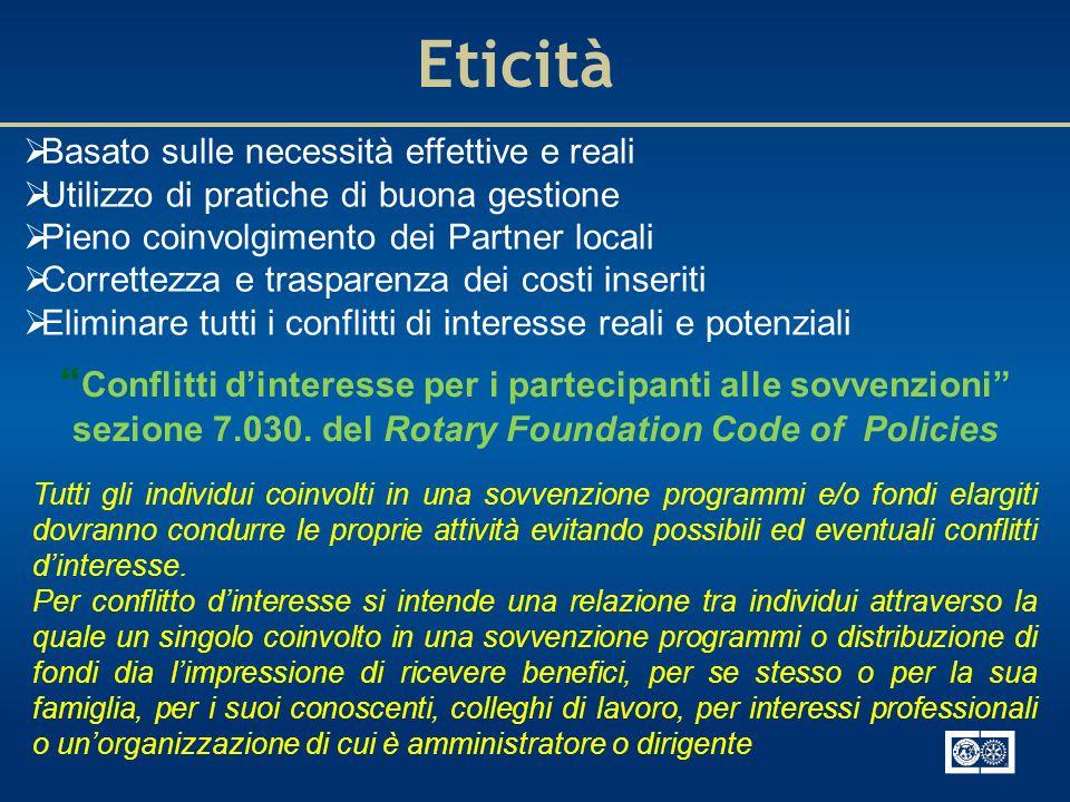 Eticità Basato sulle necessità effettive e reali Utilizzo di pratiche di buona gestione Pieno coinvolgimento dei Partner locali Correttezza e traspare