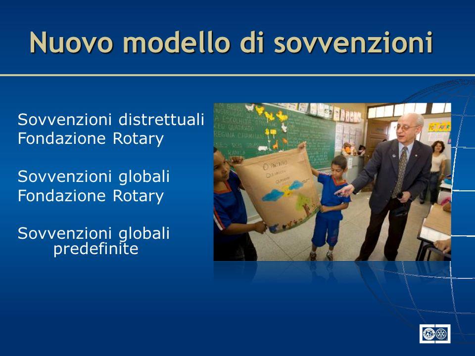 Sovvenzioni distrettuali Fondazione Rotary Sovvenzioni globali Fondazione Rotary Sovvenzioni globali predefinite Nuovo modello di sovvenzioni