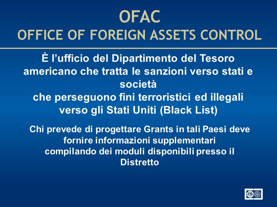 OFAC OFFICE OF FOREIGN ASSETS CONTROL È lufficio del Dipartimento del Tesoro americano che tratta le sanzioni verso stati e società che perseguono fin