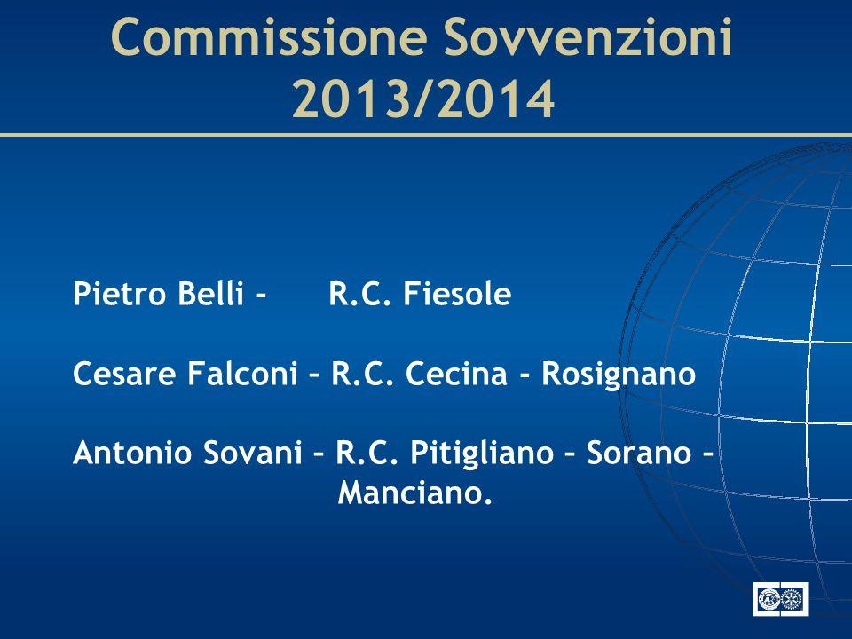 Pietro Belli - R.C. Fiesole Cesare Falconi – R.C. Cecina - Rosignano Antonio Sovani – R.C. Pitigliano – Sorano – Manciano. Commissione Sovvenzioni 201