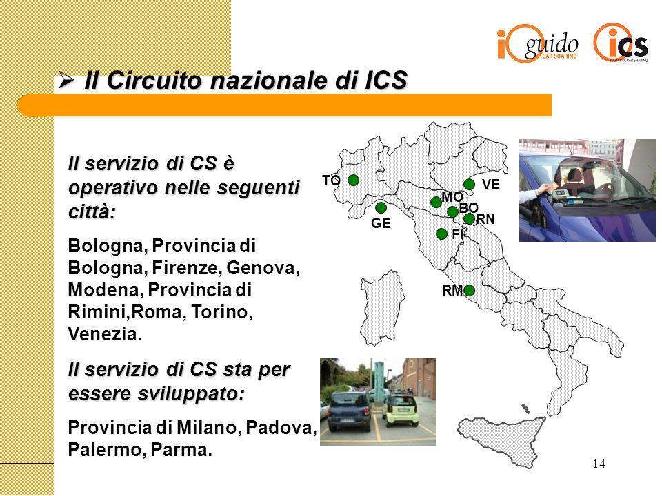 14 Il Circuito nazionale di ICS Il Circuito nazionale di ICS Il servizio di CS è operativo nelle seguenti città: Bologna, Provincia di Bologna, Firenze, Genova, Modena, Provincia di Rimini,Roma, Torino, Venezia.