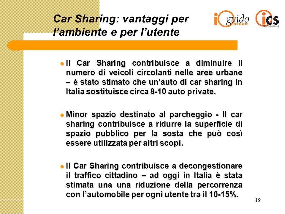19 Car Sharing: vantaggi per lambiente e per lutente Il Car Sharing contribuisce a diminuire il numero di veicoli circolanti nelle aree urbane – è stato stimato che unauto di car sharing in Italia sostituisce circa 8-10 auto private.