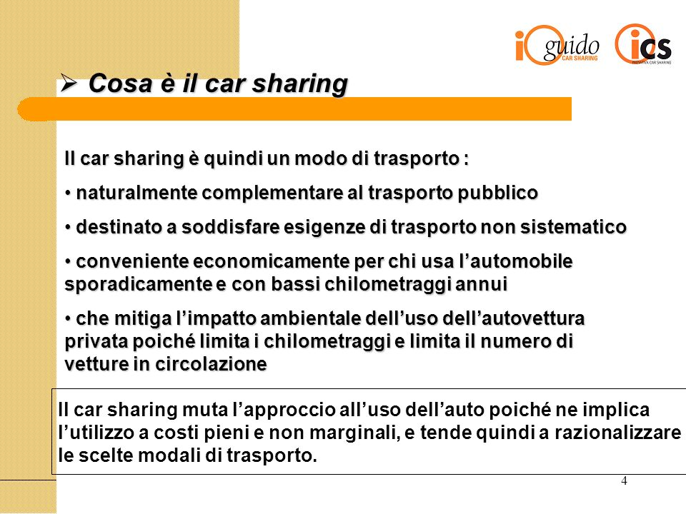 5 il Car Sharing in Italia il Car Sharing in Italia Il Decreto Legge del 27 marzo 1998 che stanzia fondi per progetti di mobilità sostenibile nelle aree urbane, individua il car sharing come una delle misure a favore della mobilità nelle città.