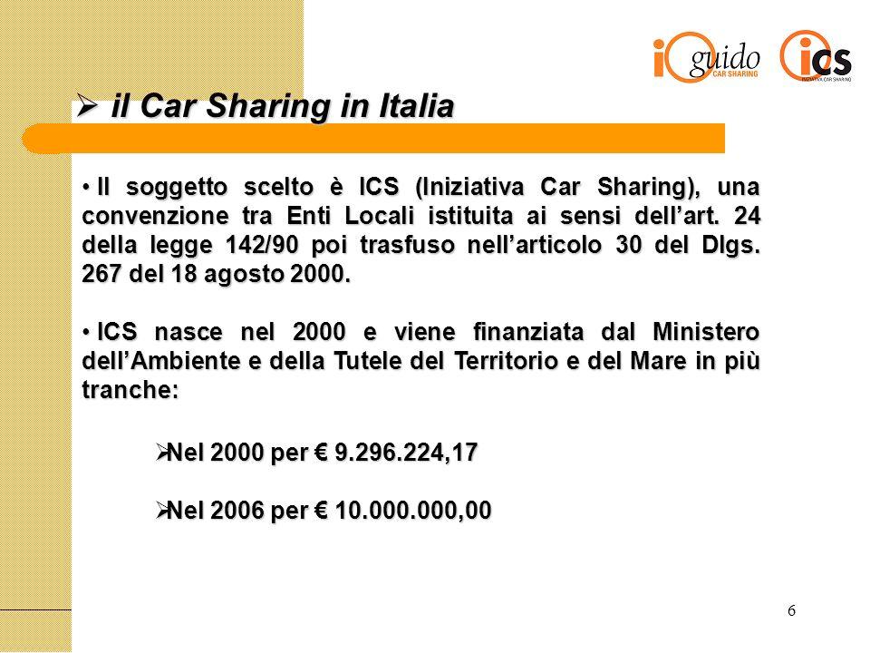 6 il Car Sharing in Italia il Car Sharing in Italia Il soggetto scelto è ICS (Iniziativa Car Sharing), una convenzione tra Enti Locali istituita ai sensi dellart.