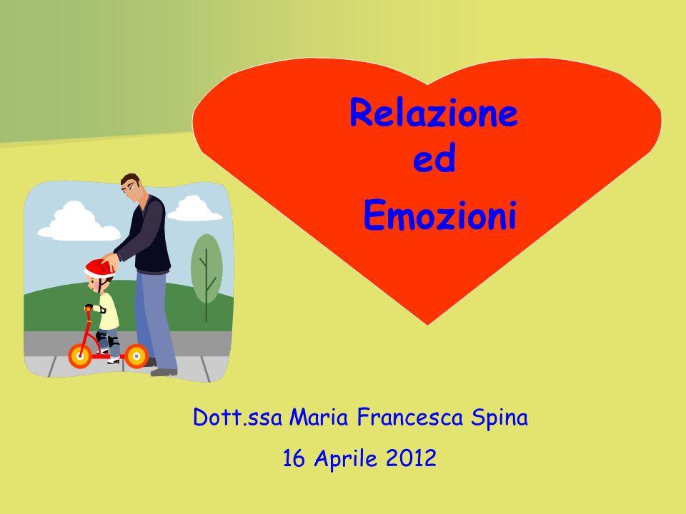 Emozioni Dott.ssa Maria Francesca Spina 16 Aprile 2012 Relazione ed
