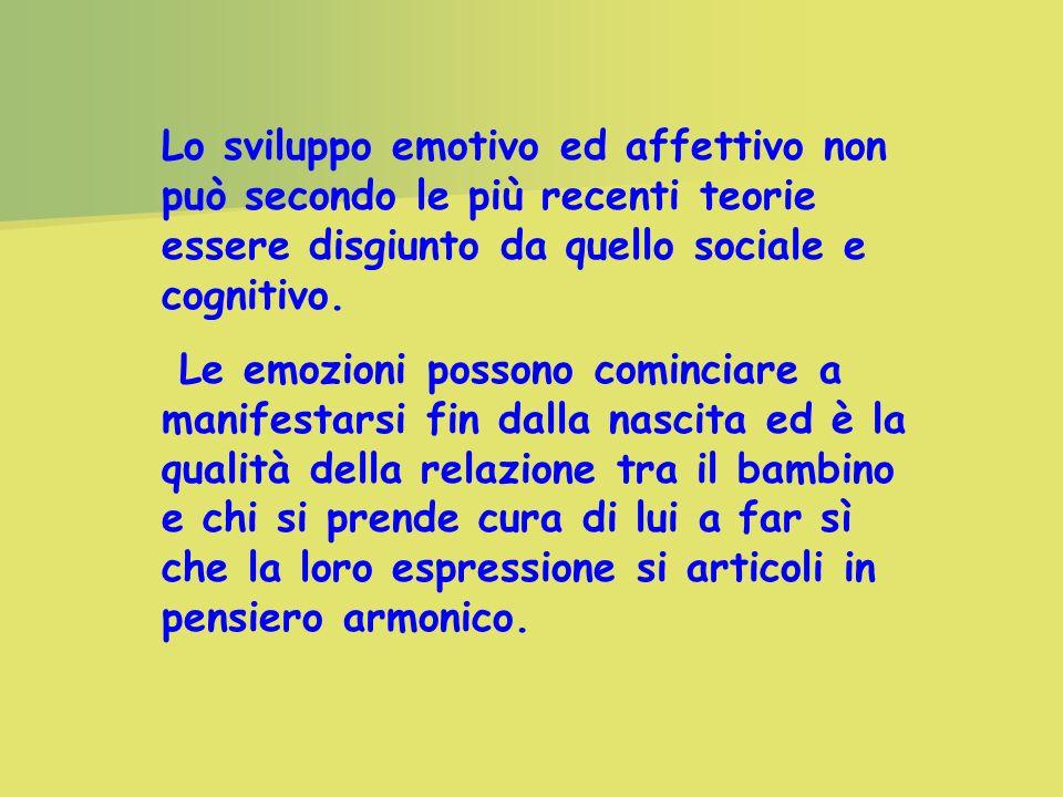 Lo sviluppo emotivo ed affettivo non può secondo le più recenti teorie essere disgiunto da quello sociale e cognitivo.