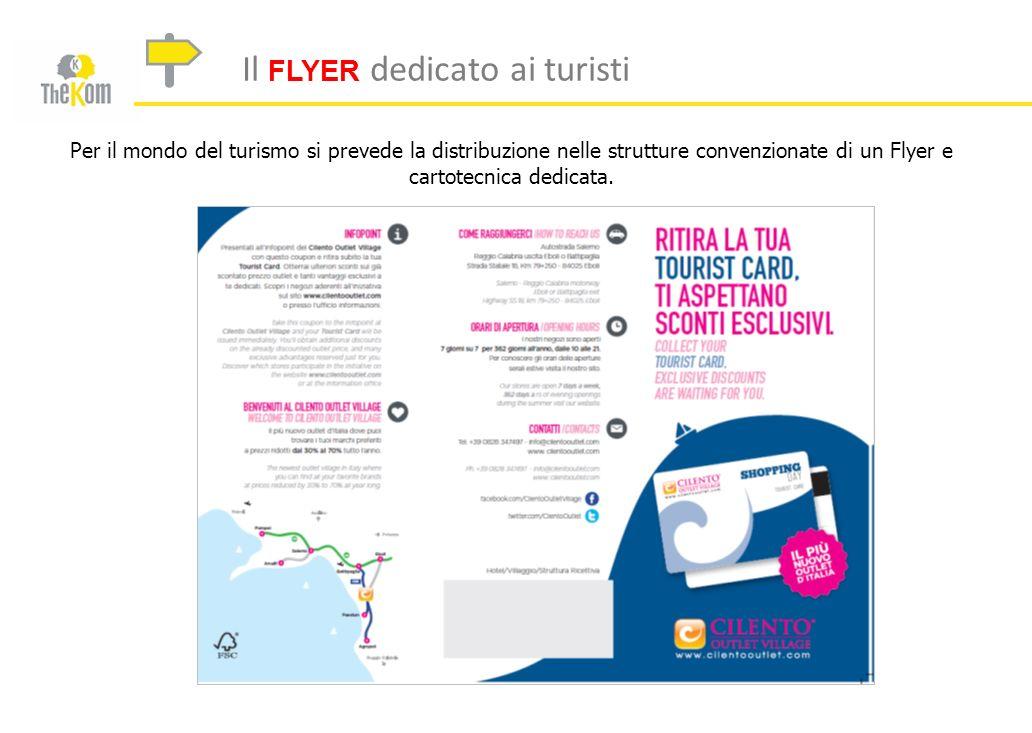 Il FLYER dedicato ai turisti Per il mondo del turismo si prevede la distribuzione nelle strutture convenzionate di un Flyer e cartotecnica dedicata.