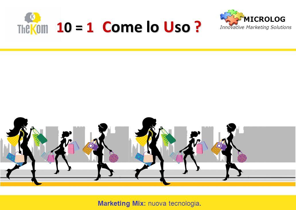 Marketing Mix: nuova tecnologia. 10 = 1 Come lo Uso ? MICROLOG Innovative Marketing Solutions