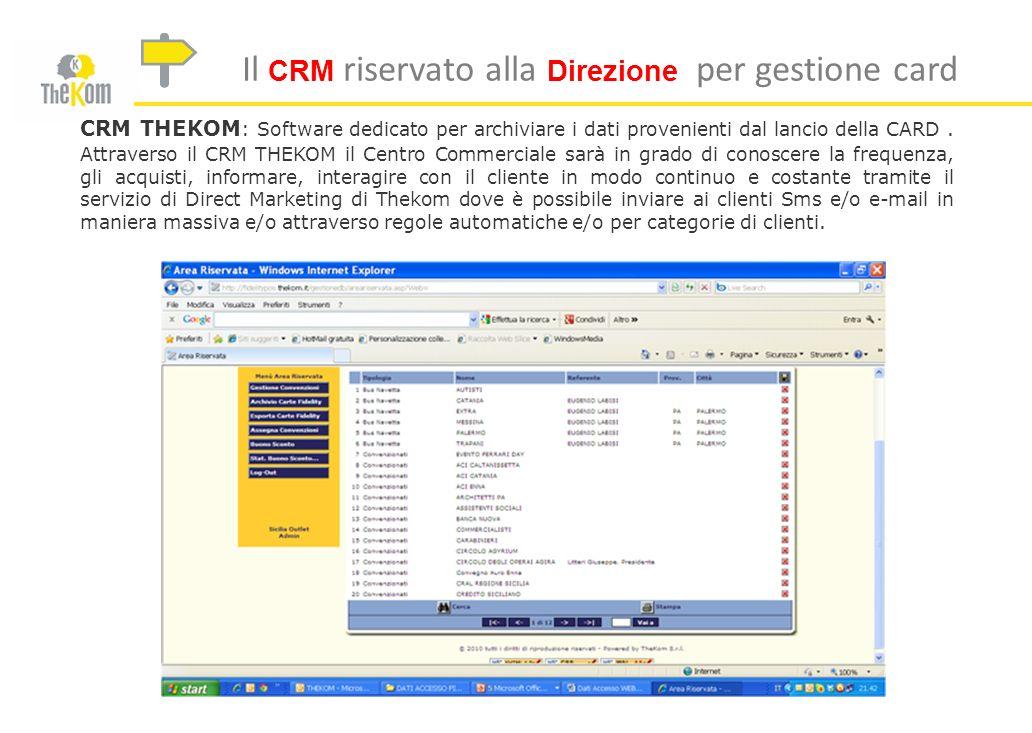 Il CRM riservato alla Direzione per gestione card CRM THEKOM : Software dedicato per archiviare i dati provenienti dal lancio della CARD. Attraverso i