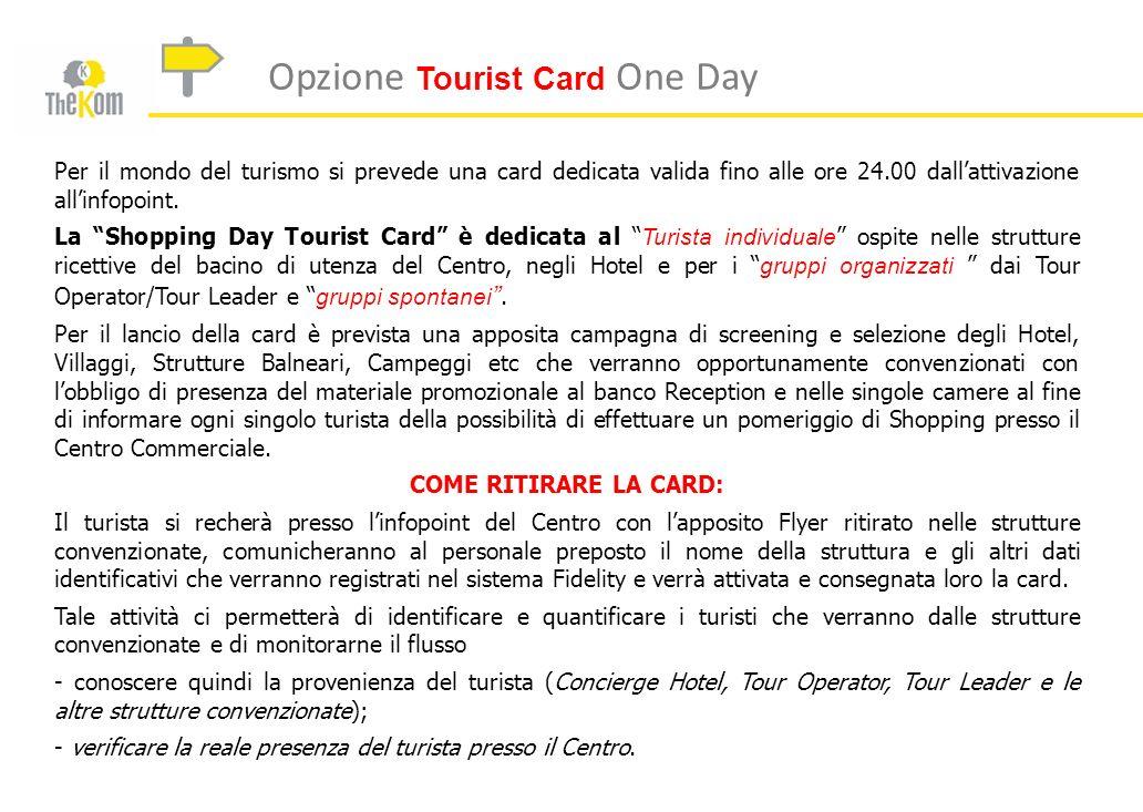 Opzione Tourist Card One Day Per il mondo del turismo si prevede una card dedicata valida fino alle ore 24.00 dallattivazione allinfopoint. La Shoppin