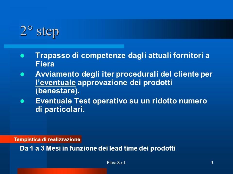 Fiera S.r.l.5 2° step Trapasso di competenze dagli attuali fornitori a Fiera Avviamento degli iter procedurali del cliente per leventuale approvazione dei prodotti (benestare).