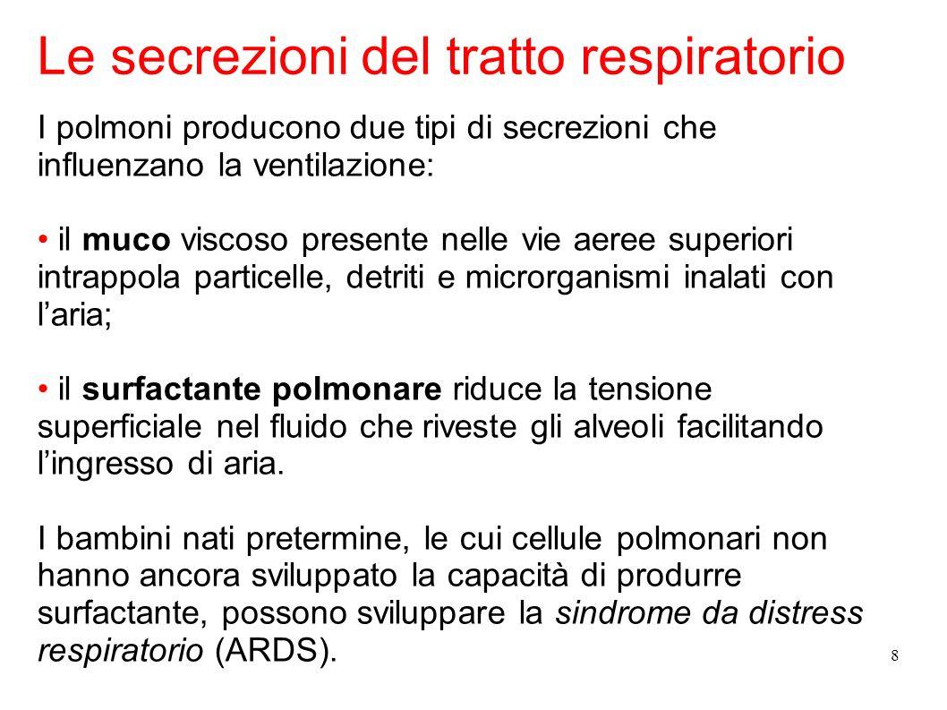8 I polmoni producono due tipi di secrezioni che influenzano la ventilazione: il muco viscoso presente nelle vie aeree superiori intrappola particelle