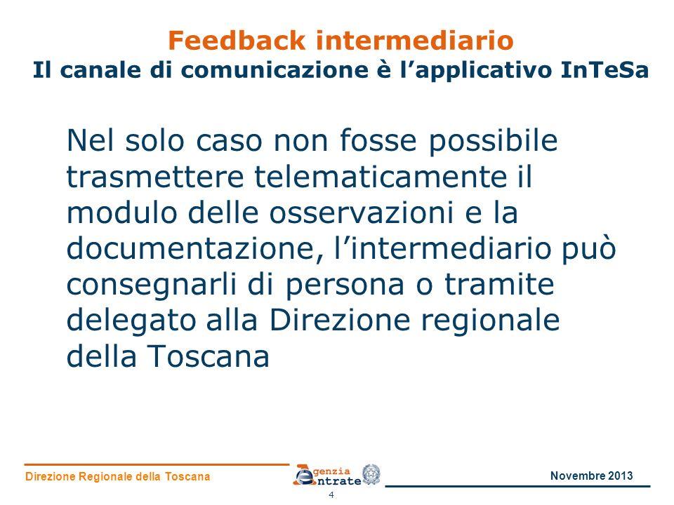 Direzione Regionale della Toscana Feedback intermediario Il canale di comunicazione è lapplicativo InTeSa Nel solo caso non fosse possibile trasmetter