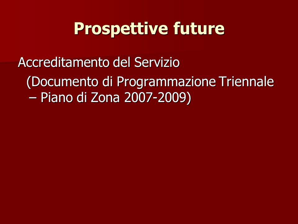 Prospettive future Accreditamento del Servizio (Documento di Programmazione Triennale – Piano di Zona 2007-2009) (Documento di Programmazione Triennale – Piano di Zona 2007-2009)