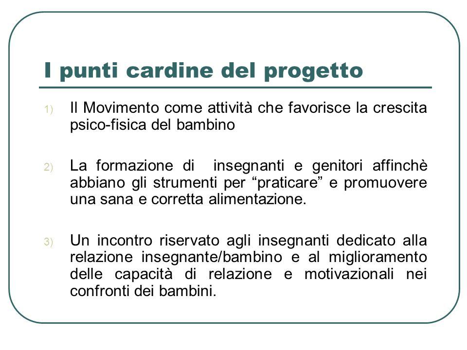I punti cardine del progetto 1) Il Movimento come attività che favorisce la crescita psico-fisica del bambino 2) La formazione di insegnanti e genitor