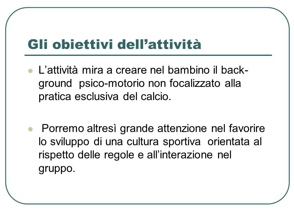 Gli obiettivi dellattività Lattività mira a creare nel bambino il back- ground psico-motorio non focalizzato alla pratica esclusiva del calcio. Porrem