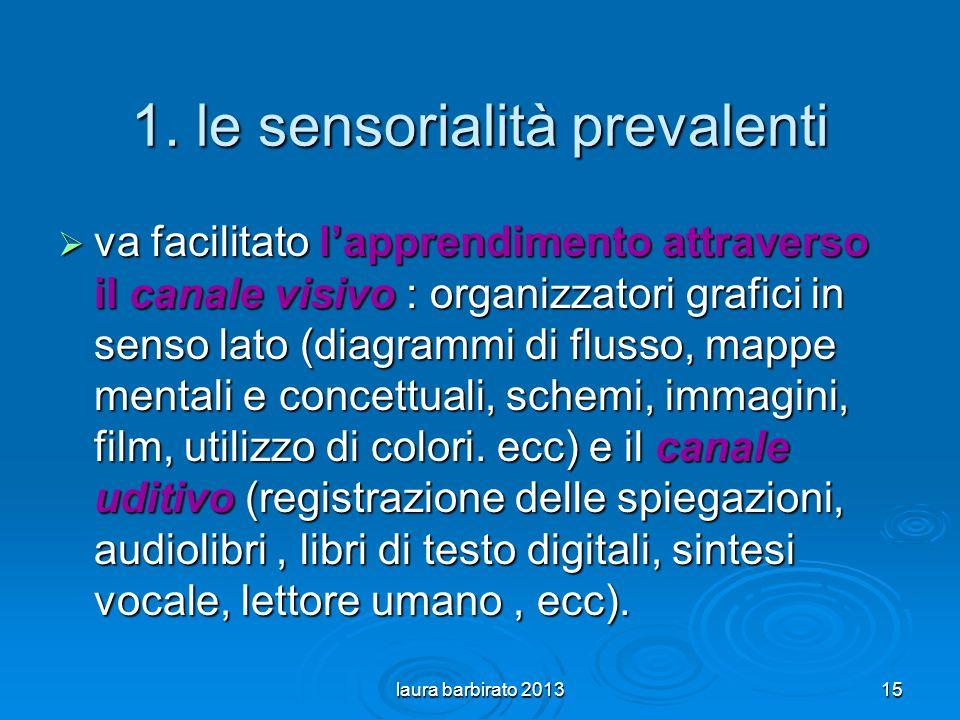 1. le sensorialità prevalenti va facilitato lapprendimento attraverso il canale visivo : organizzatori grafici in senso lato (diagrammi di flusso, map