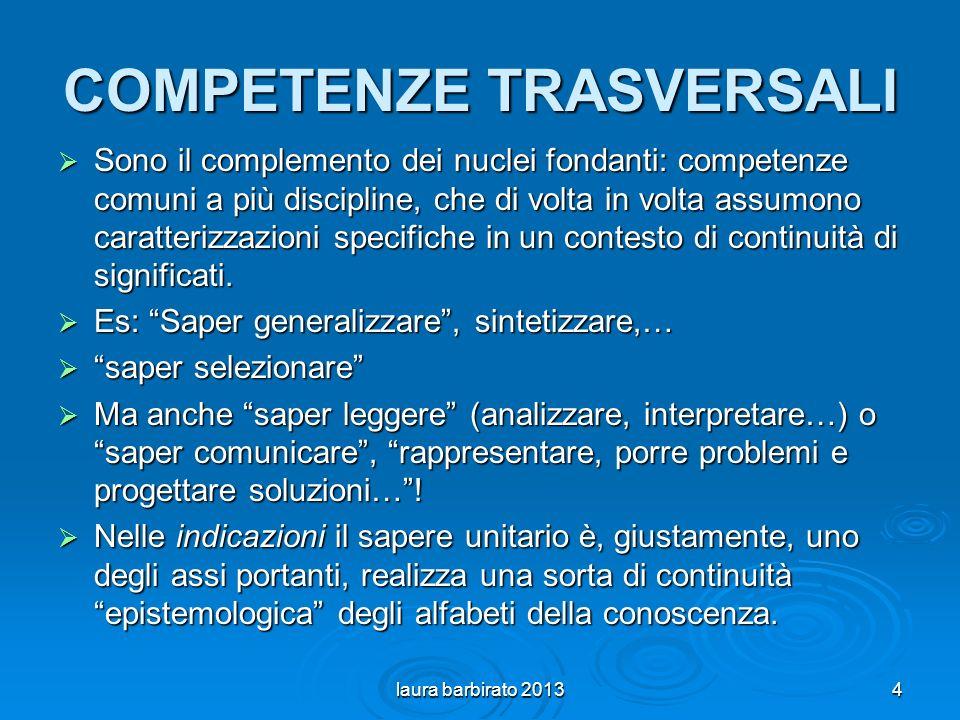 COMPETENZE TRASVERSALI Sono il complemento dei nuclei fondanti: competenze comuni a più discipline, che di volta in volta assumono caratterizzazioni specifiche in un contesto di continuità di significati.