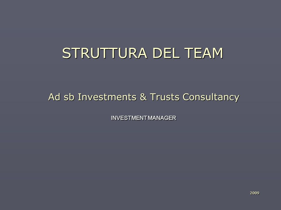 STRUTTURA DEL TEAM Ad sb Investments & Trusts Consultancy INVESTMENT MANAGER 2009