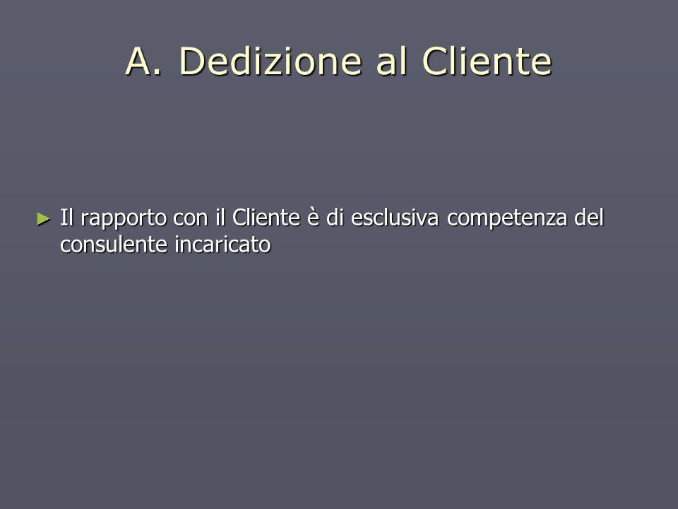 A. Dedizione al Cliente Il rapporto con il Cliente è di esclusiva competenza del consulente incaricato Il rapporto con il Cliente è di esclusiva compe