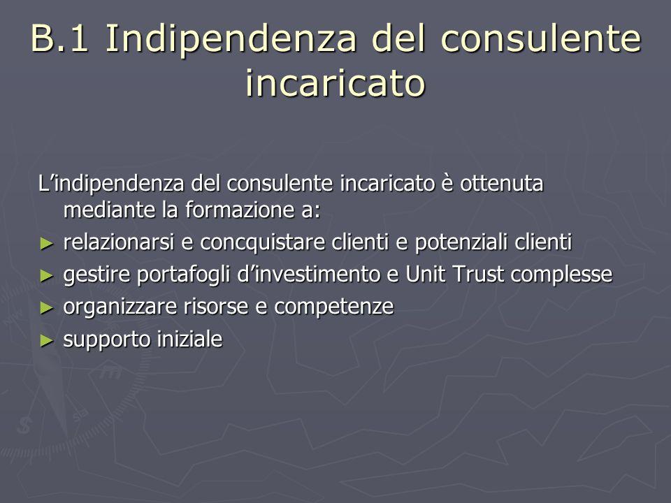 B.2 Indipendenza del consulente incaricato Lindipendenza del consulente incaricato è internamente mantenuta e preservata nel tempo.